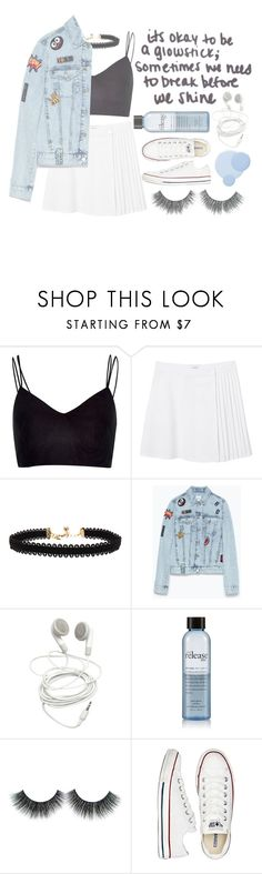 """()what is happening to me()"" by justtypical ❤ liked on Polyvore featuring River Island, Monki, Vanessa Mooney, Zara, philosophy, Converse and Deborah Lippmann"