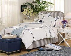 navy stripes beach bedroom.