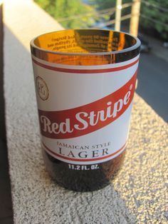 Upcycled Red Stripe Beer Bottle Drinking Glass
