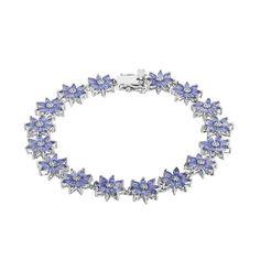 "Sterling Silver Tanzanite & White Topaz Flower Bracelet, Women's, Size: 7.5"", Blue"