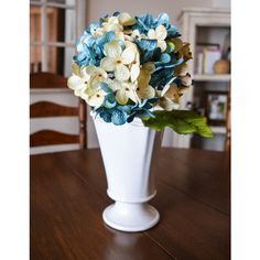 Hydrangea Hand Blended Hydrangea Stem Blue Hydrangea Faux Flowers... ($12) ❤ liked on Polyvore featuring home, home decor, floral decor, floral arrangements, grey, home & living, home décor, floral door wreaths, artificial flower stems and blue artificial flowers