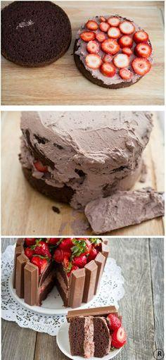 Strawberries? Chocolate? Kit Kats? I'm IN!! Kit Kat Cake