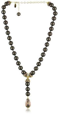 Miguel Ases Ocean Pearl and Rose Gold Beaded Y-Pendant Necklace - Listing price: $440.00 Now: $198.99 + Free Shipping