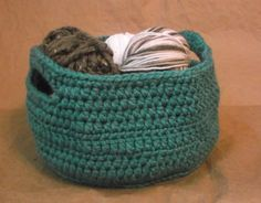 Teal Crochet Basket by DreamingDoe on Etsy