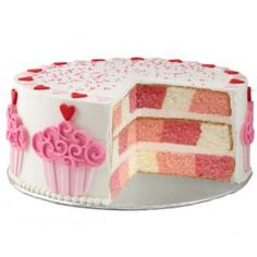 """Valentine's Day Cake with Hearts and Cupcakes...Wilton says """"moderately easy""""!"""