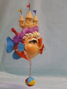 katherine's collection Kissing fish ornament Seashore sandcastle orange retired