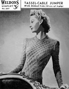 Vintage Tassel-Cable Jumper with Ribbed Yoke, Knitting Pattern, 1940s (PDF) Pattern, Weldons 207 by LittleJohn2003 on Etsy