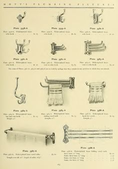 Towel and robe hooks from 1907 Mott's plumbing catalog. Victorian Bathroom, Vintage Bathrooms, Ants In House, Towel Rack Bathroom, Towel Racks, Art Nouveau, Arts And Crafts House, Craftsman Style, American Craftsman