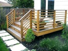Awesome Deck Railing Ideas for Your Home. Why should you build a deck? Why should you check many deck railing ideas? Well, we guess that you are about constructing a deck. It is good to do so because the deck is a nice addition that will add more. Horizontal Deck Railing, Deck Stair Railing, Front Porch Railings, Deck Railing Design, Front Porches, Wood Deck Designs, Patio Stairs, Balcony Design, Patio Balustrade Ideas