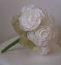 Elegant Soft White Foam Rose Bridal Bouquet with a ruffle of Soft Green Organza £50...available in more colours...