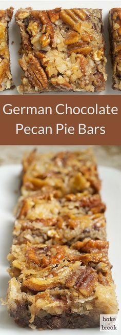 German Chocolate Pecan Pie Bars German Chocolate Pecan Pie Bars are a wonderfully delicious combination of chocolate crust more chocolate coconut and pecans. A great crowd pleaser! The post German Chocolate Pecan Pie Bars appeared first on Deutschland. Menu Desserts, Delicious Desserts, Dessert Recipes, Bar Recipes, Recipies, Holiday Desserts, Pecan Desserts, Cream Recipes, Plated Desserts