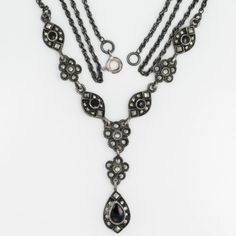 Antique-C-1940-Art-Deco-Sterling-Silver-Onyx-Marcasite-Lavaliere-Necklace