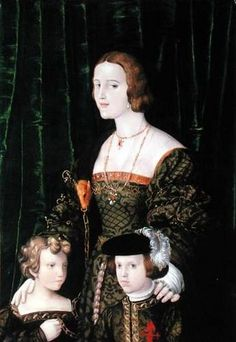 Juana of Castile with her eldest children: Eleanor of Habsburg, Queen of Portugal and France, and Charles V, King of Spain and Holy Roman Emperor. Her sister was Catherine of Aragon who became Queen of England when she married Henry VIII. Spain History, Tudor History, European History, Women In History, British History, Art History, Joanna Of Castile, Tudor Dynasty, Spanish Royalty