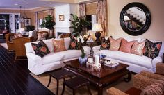 Barclay Butera Interior Design - Town and Country - Los Angeles Interior Designer, Newport Beach Interior Designer, Park City Interior Designer, New York Interior Designer - Madison Club - White Sectional - Round Mirror - Living Room Decor, Living Room Design, Living Room Inspiration