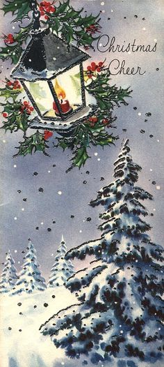 Old Christmas Post Сards — Lamp and Trees (448x1000)