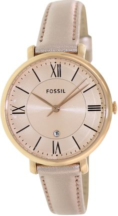 Fossil Women's Jacqueline ES3438 Rose-Gold Leather Quartz Watch