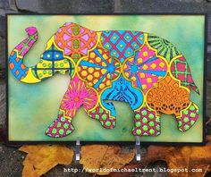 Doodling with Nathalie Kalbach Elephant StencilGirl stencil. Project by Michael Trent.