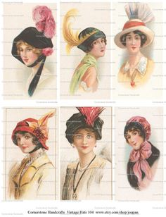Collage Sheet Vintage Hats 104 Instant Digital Download by joapan, $1.49