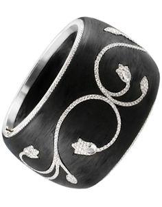 Diamond Flower Motif Bangle by BOGH-ART Carbon fiber and diamonds ring BOGH-ART