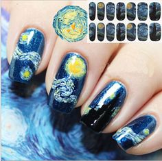 1Pcs NEW 14 Tips Nail Art Full Cover Nail Stickers Beauty Galaxies Starry Sky Decal Manicure Water Decals Transfer Sticker