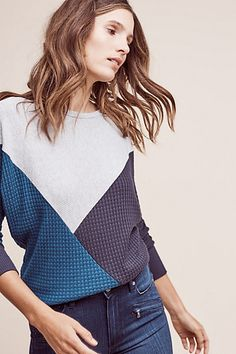 I like the diagonal take on a colorblock sweater; these colors are good, too.