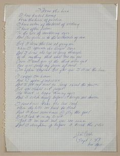 """Handwritten lyrics by Johnny Cash to the song """"I Draw the Line."""""""