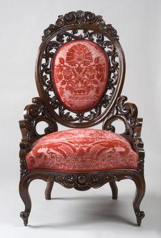 1849 Rococo parlor chair, walnut, poss GH Henkels, Philadelphia, PA () 42t, Philadelphia Museum of Art.