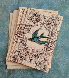 Vintage Bird Notecards  French BlueBird  by CreativeVisions, $5.50