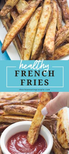 This Healthy Baked French Fries are simply the best. Baked in the oven, they're better than any other homemade fries while being paleo, Whole30 and gluten free! Made with only four ingredients, they're easy to make and taste delicious!  #Whole30 #paleo #glutenfree #dairyfree #healthy #fries #potatoes Healthy French Fries, French Fries Recipe, Healthy Fries, Homemade Fries, Homemade French Fries, Easy Clean Eating Recipes, Easy Whole 30 Recipes, Simple Recipes, Healthy Gluten Free Recipes