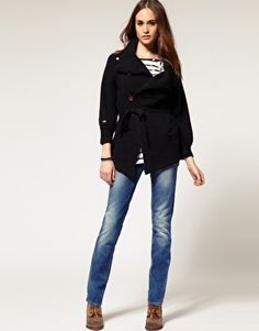G-Star side collar belted cardigan