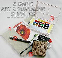 Julie Balzer's basic art journaling supplies...