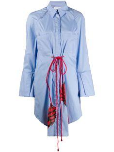 Thebe Magugu Long Drawstring Shirt Dress - Farfetch Street Chic, Drawstring Waist, Size Clothing, Blue Dresses, Women Wear, Shirt Dress, Long Sleeve, Cotton, Fashion Design