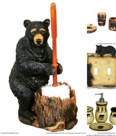 Cute Black Bear Bathroom Accessories For A Rustic Cabin Decor Look Lyblkbearbath