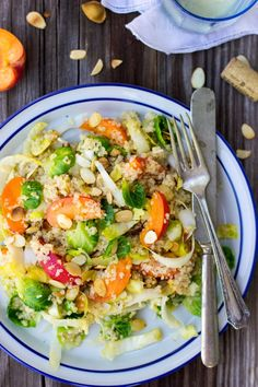 Quinoa Salad with Apricots, Endive, Brussels Sprouts Leaves & Toasted Almonds