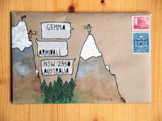 A gallery of mail-art created by me when I was just starting out. Mostly snail-mail envelopes on kraft paper, painted in gouache and watercolour. Envelope Art, Envelope Design, Letter Writing, Letter Art, Mail Art Envelopes, Addressing Envelopes, Blog Art, Pen Pal Letters, Decorated Envelopes