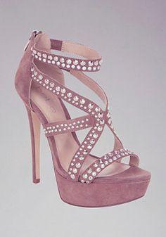 Kristi Embellished Suede Sandals at bebe