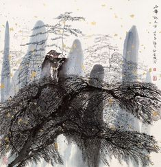 "iamjapanese: "" artchipel: "" Curator's Monday 130 Zhu Daoping 朱道平 China) Born in Huangyan, Zhejiang, Zhu Daoping graduated from the Fine Arts Department of Nanjing Art Academy. Zhu's paintings. Chinese Landscape Painting, Chinese Painting, Abstract Landscape, Landscape Paintings, Artist Painting, Painting & Drawing, Watercolor Paintings, Watercolour, Art Corner"