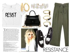 """Keep Resisting"" by wearyourdissent ❤ liked on Polyvore featuring Dolce&Gabbana, Balmain, Humble Chic, Noir Jewelry, resist and Theresistance"