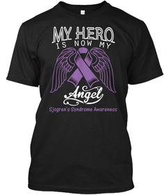My Hero Is Now My Angel Melanoma Cancer Awareness Black T-Shirt Front Autoimmune Disease Awareness, Cancer Awareness Shirts, Lupus Awareness, Orange T Shirts, Childhood Cancer, Hero, Gifts, Black, Colon Cancer