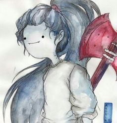 water-color Marceline from Adventure Time Adventure Time Marceline, Adventure Time Finn, Marceline And Princess Bubblegum, Okuda, Finn The Human, Vampire Queen, Jake The Dogs, Bubbline, Cartoon Network Adventure Time