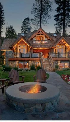 log, stone, shaker roof, front fire pit, basement front ground entry