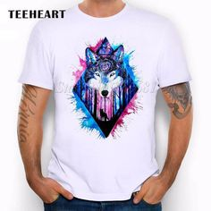 Tshirt Men Rainbow Color Lion/Wolf/Horse Animal Print Personality O-neck White Casual Top Tees