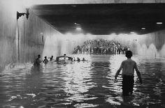 Enchentes - Vale Anhangabau Passagem de nivel 1963 - Sao Paulo antiga
