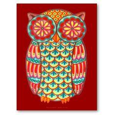 A funky, detailed drawing of a groovy owl drawn in a folk art style. This retro owl postcard is the original art of Thaneeya McArdle Art Populaire, Ipad Mini Cases, Art Original, Owl Print, Art Plastique, Bird Art, Designs To Draw, Cute Art, Fine Art Prints