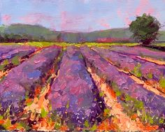 Hill Country Lavender Fest, by Guy Jackson Jackson, Lavender, Guy, Country, Artist, Painting, Outdoor, Outdoors, Rural Area