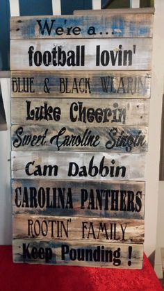 Carolina Panthers, wood sign, reclaimed wood, pallet wood, football, Super Bowl, Panthers, keep pounding, wall decor, man cave, by BoxedCreativity on Etsy https://www.etsy.com/listing/265879303/carolina-panthers-wood-sign-reclaimed