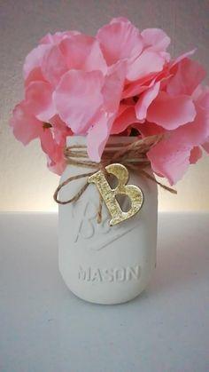 5 quart table centerpiece, ball mason jars, Personalized Mason Jars with flowers, custom mason jar with monogram, gold letter