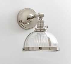 Ribbed Glass Pendant Nickel finish Hood + Nickel finish Sconce Kit, Small