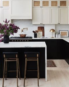Loving the black and white kitchen
