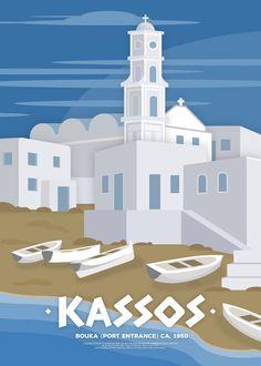 'Kasos (GR), Bouka (Port Entrance) c. Poster by fnk-creative Travel Illustration, Digital Illustration, Banks Ads, Minimal Travel, Tattoo Posters, Pub Vintage, Tourism Poster, Art Deco Posters, Drawing Challenge